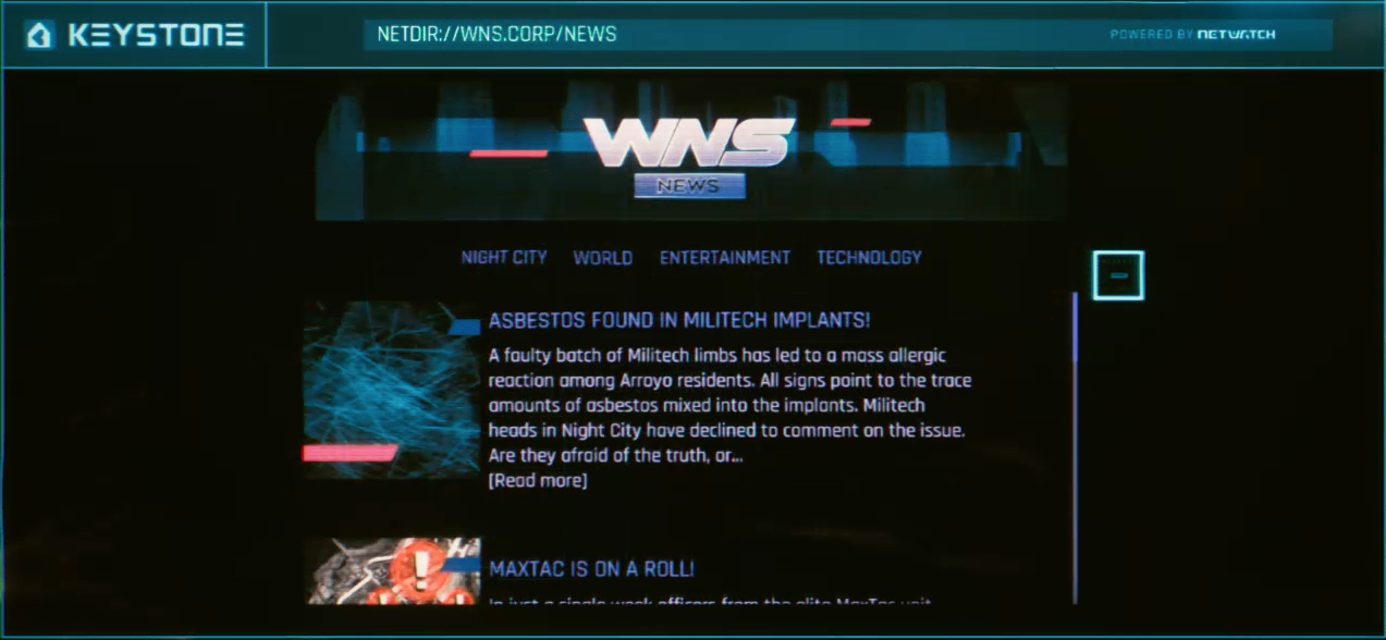 2077 Cyberpunk website UI
